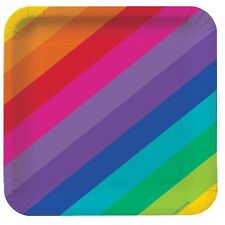 Party Decorations Supplies Birthday Rainbow Dinner Plates Pack of 8