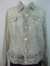 Choices Women's Semi Sheer Lace Shirt Top Beige Floral Blouse Long Sleeve Size L