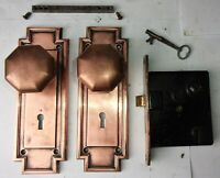 Antique Entrance Door Art Deco Set Backplates Octagon Knobs Mortise Lock Key
