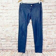 Free People Blue Faux Leather Skinny Pants Womens Size 4