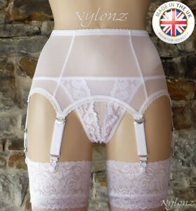 6 Strap Luxury Power Mesh Suspender Belt WHITE (Garter Belt) NYLONZ   Made In UK