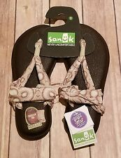 NWT Sanuk Women's Yoga Sling 2 Sandal Flip Flop - Size 6 - Beige Natural Multi R