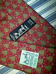 Hermes Men's Silk Tie Made in France 7106  Maroon & Light Green