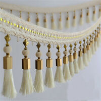 1M Lace Curtain Tassel Hanging Ear Beads Trim Head Cloth Art Curtain Accessories