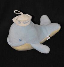 """Peluche doudou poisson baleine PARENTS bleu jaune grelot """"Je t'aime"""" 23 cm TTBE"""