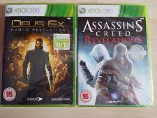 2 GIOCHI XBOX 360 Deus Ex Human Revolution e ASSASSINS CREED REVELATIONS NUOVO
