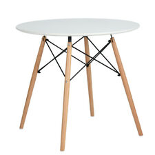 White Round Dining Table Eiffel Inspired Style 80cm MDF Top Wooden Cross Legs
