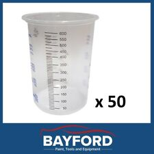 PLASTIC PAINT MIXING CUPS 50 X CUPS  600ML CALIBRATED - SPRAY PAINTING