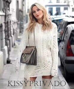 ZARA Ecru Off White Chunky Oversized Fringed Sweater Dress L BNWT BLOGGERS !!!