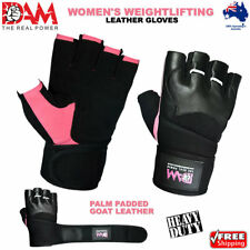 DAM LEATHER WEIGHT LIFTING GYM GLOVES, BODY BUILDING EXERCISE GYM WOMEN'S ONLY