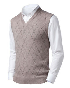 Mens Knitted Sweater Vest Argyle Slim Fit Thick Warm Golf Sleeveless Pullover