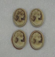 4 x Brown Resin Lady Cameo Cabochons For Pendant Frame For Beading, Craft CAM303