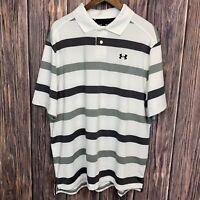 Under Armour Mens Heat Gear Loose Stripe Golf Polo Short Sleeve Black Gray XL