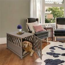 Casual Home 602-218 Modern Lattice Wooden Pet Crate End Table Gray