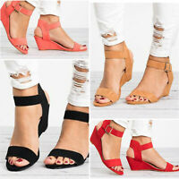 Womens Ankle Strap Buckle Sandals Ladies Wedge Heel Summer Party Work Shoes