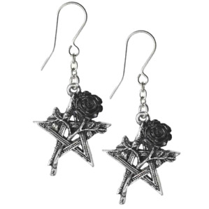 ALCHEMY RUAH VERED EARRINGS PENTAGRAM Black Rose Gothic Pewter + VELVET POUCH