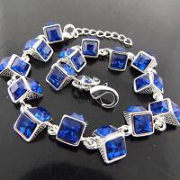 Bracelet Bangle Real 925 Sterling Silver S/F Blue Sapphire Gem Tennis Design