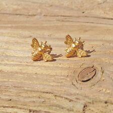 Satin Gold Plated Silver Bee Pierced Earrings 925 Worker Bee Honeybee Bumblebee