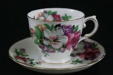 """Tuscan """"Azalea""""  TEA CUP AND SAUCER, white, purple and red flowers"""