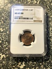 1939 Great Britain Farthing NGC MS63 Red Brown Lot#G717 Choice UNC!