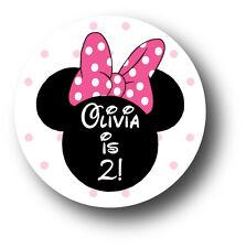 30 Minnie Mouse Birthday Party Invitation Stickers - Personalized Name & Age