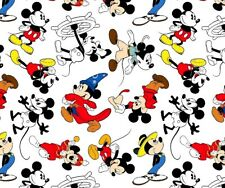 FAT QUARTER  DISNEY FABRIC MICKEY MOUSE  THROUGH THE YEARS  CLASSIC  COTTON  FQ