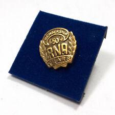 "Vintage RNA Royal Neighbors 50 Years Membership Gold Toned Pin Button .75"""