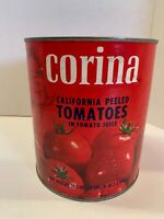 """VTG Corina CA Peeled Tomatoes Tin Can 6lb Empty Container 7"""" tall x 6"""" diameter"""