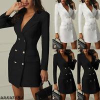Women Lady Casual Button Slim Long Sleeve Suit Blazer Dress Coat Jacket Outwear