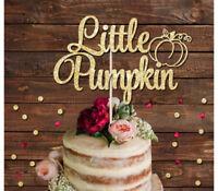 LITTLE PUMPKIN GLITTER CAKE TOPPER BABY SHOWER, NEW BABY CAKE DECORATION