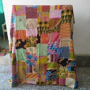 Boho Bedding Bedspread Throw Cotton Hippie Quilt Patchwork Kantha Indian Vintage