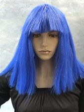 Ladies Long Straight Blue Quality Synthetic Fashion Wig Hair /  Tinsel Strands