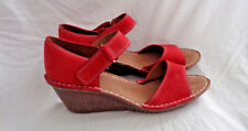 Ladies Clarks Leather Sandal wedge heel open toe 8UK 101/2US 42EU Medium Salmon