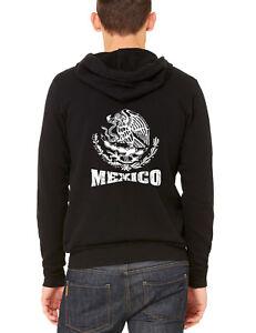 Men's White Mexico Seal C9 Black Zipper Hoodie Mexican Pride Symbol Flag Aztec