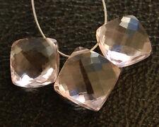 AAA Pink Amethyst Faceted Cushion Briolette Semi Precious Gemstone Beads 9-10mm