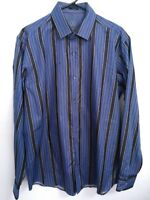 Bugatchi Uomo Mens Large Blue Black Striped Long Sleeve Button Up Dress Shirt