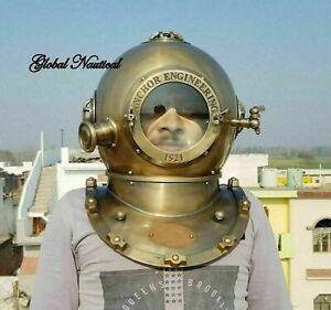 Anchor Antique Diving helmet Mark V Vintage Navy Morse Divers Scuba Helmet 18''