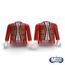 playmobil® 2 x Oberkörper mit Arme  rot   gold   Garde   Piraten   Soldat   Page