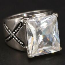 X Statement Ring Size 5.25 - 13g Sterling Silver - Cz Cubic Zirconia Pebbled