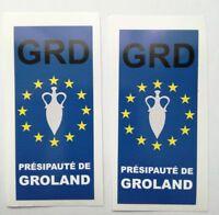 2 Stickers autocollant adhésif plaque d'immatriculation département Groland GRD