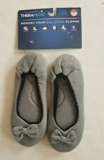 Therapedic Memory Foam Womens Ballerina Slippers Grey L Size 9-10 Rubber Outsole