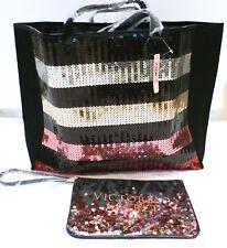 Victoria's Secret Bling Stripe Sequin carryall tote W/ mini bag 2017