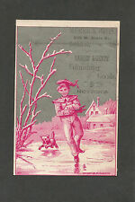 """Victorian Trade Card """"Merrick Brothers Goods Notions""""  Ice Skating - Late 1800s"""