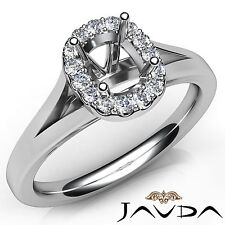 Cushion Diamond Engagement Semi Mount Platinum 950 Halo Pave Setting Ring 0.20Ct
