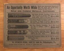 Original 1912 W Stokes Kirk Rifle Carbine Cartridges Cardboard Sign Ad Bullets !