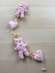 Baby Pink Cat Mobile Girls Nursery Decor Hearts Wall Hanging Cot Crib Floral