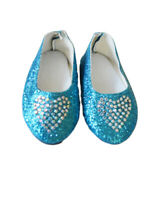 Blue Heart Flats for Wellie Wisher Dolls 14.5 Inch Doll Shoes Glitter Girls