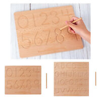 Two Sided Wooden Tracing Board, ABC 123 Writing Board, Kids Early Develompent