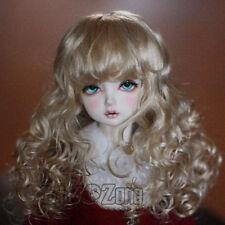 "New 22-24cm 9-10""Imitation mohair Flax gold Wavy hair For 1/3 SD BJD Doll Wig"