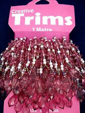 Beaded Trim 1m Raspberry Faceted Drops Beads Sewing Lampshade FREE POSTAGE